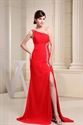 Red One Shoulder Maxi Dress,Maxi Dresses With Slits