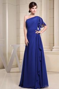 Blue One Shoulder Maxi Dress,Blue One Shoulder Single Sleeve Dress 2021