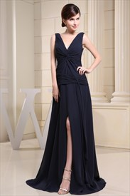 Long Navy Blue Chiffon Dress, Prom Dresses With Slits On The Side