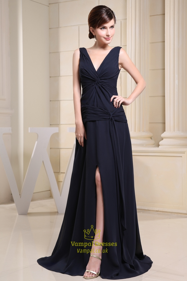 Long Navy Blue Chiffon Dress, Prom Dresses With Slits On The Side ...