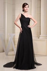 Black One Shoulder Maxi Dress With Sequins,Black One Shoulder Maxi Dress