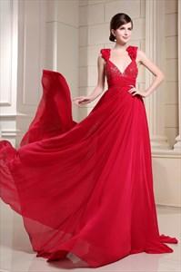 Red Spaghetti Strap Long V-Neck Dress,Red V Neck Dress Formal