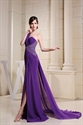 One Shoulder Purple Prom Dress With Single Strap And Slits