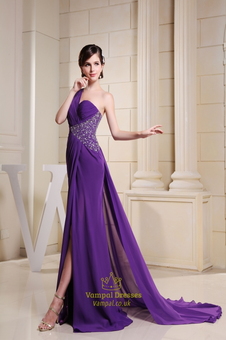 One shoulder purple prom dress with single strap and slits for One strap wedding dress