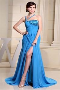 Long Prom Dresses With Slits,Chiffon A-Line Floor-Length Evening Dress