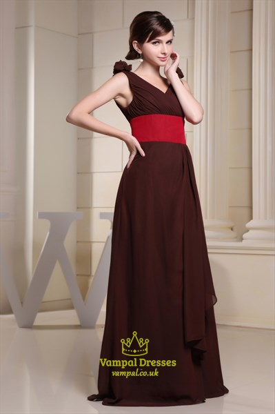 Chocolate Brown V Neck Prom Dresses 2019,Brown Dress With Red Sash