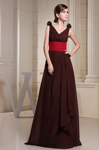 Chocolate Brown V Neck Prom Dresses 2021,Brown Dress With Red Sash