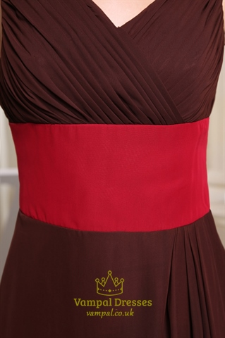 Chocolate Brown V Neck Prom Dresses 2018,Brown Dress With Red Sash