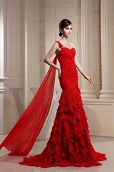 Red Chiffon One Shoulder Ruffle Dress, Mermaid One Shoulder Prom Dress