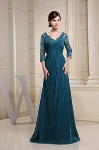 Long Dark Green Prom Dress, Chiffon And Lace Mother Of The Bride Dress