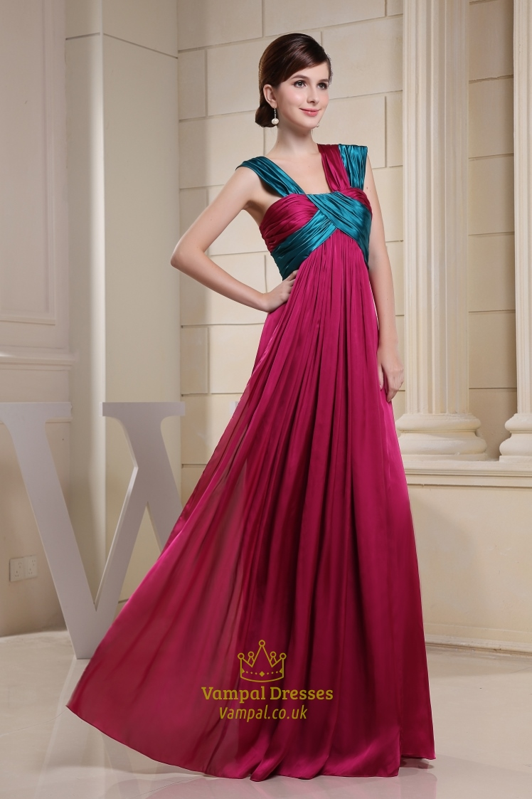 long hot pink evening dress floor length prom dresses for