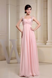 Pink Empire Waist Prom Dress, Long Pink Square Chiffon Prom Dress