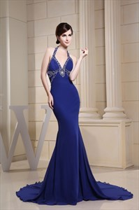 Long V-Neck Royal Blue Prom Dress, Halter Mermaid Evening Gowns