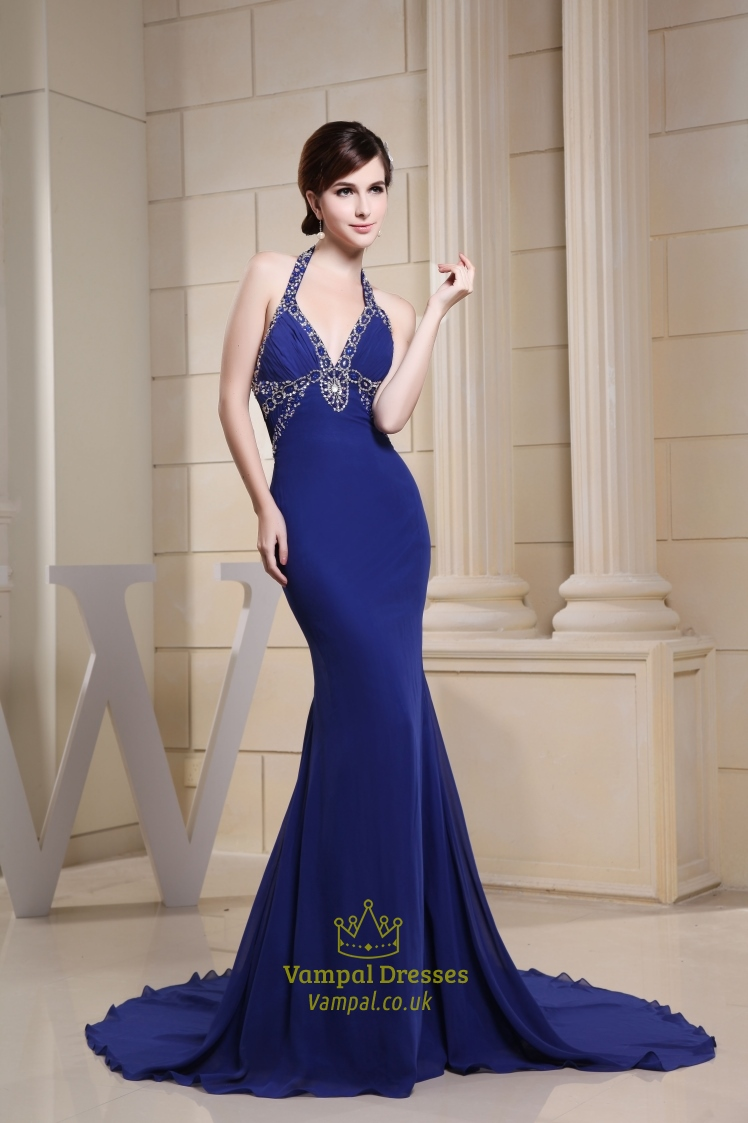 Long V Neck Royal Blue Prom Dress Halter Mermaid Evening