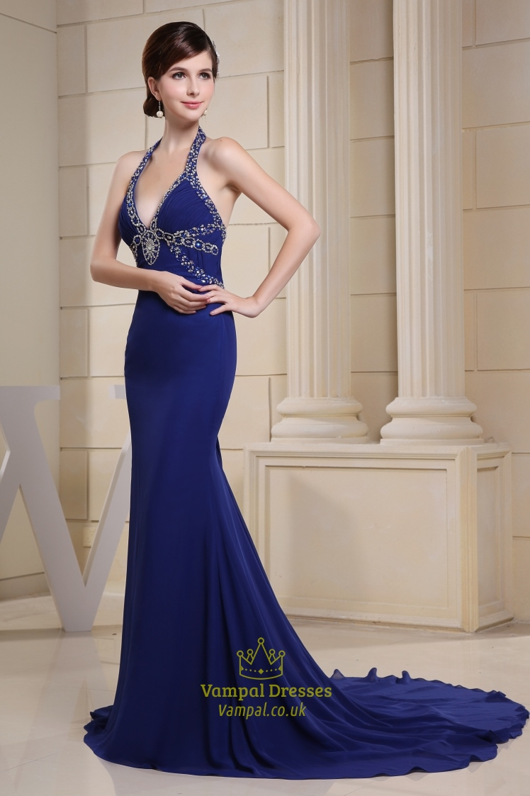 Long V-Neck Royal Blue Prom Dress Halter Mermaid Evening