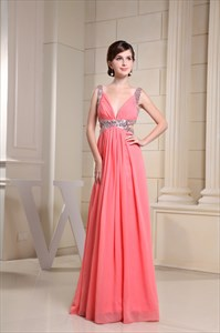 Coral Chiffon Prom Dress, Long V Neck Prom Dress, Formal Evening Gowns