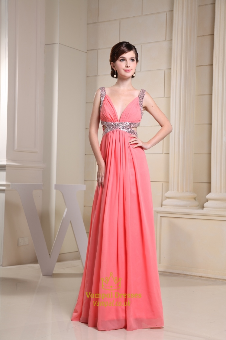 Coral Chiffon Prom Dress, Long V Neck Prom Dress Formal Evening ...