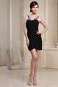 Short Black Cocktail Prom Dresses, Black Chiffon Homecoming Dress