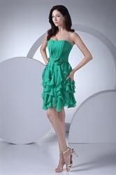 Green Chiffon Pleated Dress,Elegant Short Green Dress