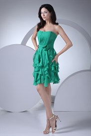 Green Chiffon Pleated Dress,Elegant Short Green Dress