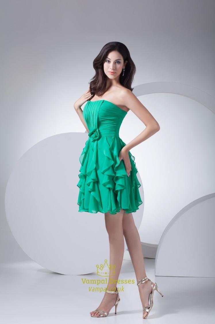 Green Chiffon Pleated Dress Elegant Short Green Dress