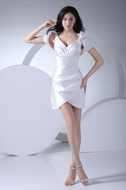 Elegant White Mini Dress With Jacket,Short V-Neck White Dress