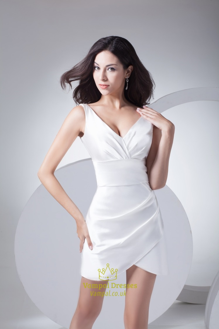 Elegant White Mini Dress With Jacket Short V Neck White