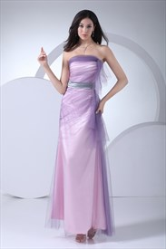 Lilac Long Bridesmaid Dresses,Strapless Drape Dress In Lilac