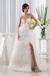 Sexiest Prom Dresses 2018,Sexy Front Slit Prom Dresses With Feathers