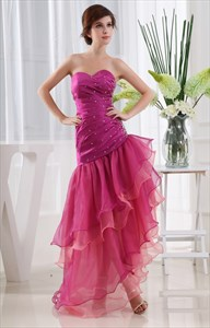 Sweetheart Homecoming Dresses 2021, Strapless Layered High-Low Dress