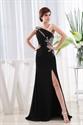 Long Black Chiffon Evening Dress, One Shoulder Chiffon Gown Side Drape