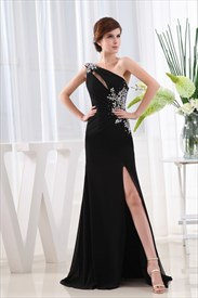 Long Black Chiffon Evening Dress, One Shoulder Chiffon Gown Side Drape
