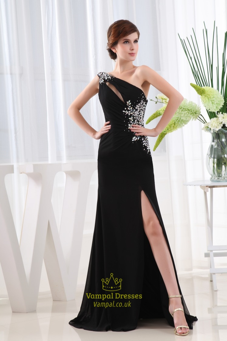Long Black Chiffon Evening Dress, One Shoulder Chiffon Gown Side ...