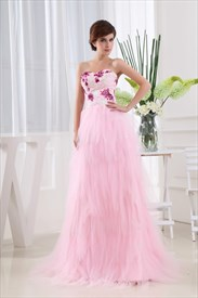 Pink Strapless Prom Dresses, A-Line Strapless Floor Length Prom Dress