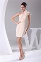 Peach One Shoulder Homecoming Dress, Chiffon Short Dresses For Evening