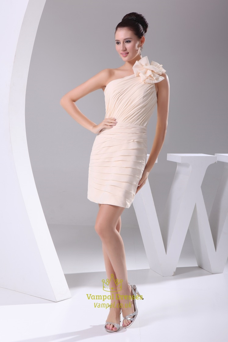 9ae94736df0 Peach One Shoulder Homecoming Dress