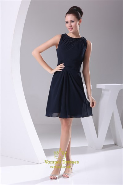 Navy Blue Short Bridesmaid Dresses, Short Chiffon Homecoming Dresses
