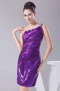 Short Sequin Prom Dresses 2021, One Shoulder Sequin Homecoming Dresses