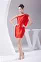 Red One Shoulder Prom Dress 2021, Short One Shoulder Homecoming Dress