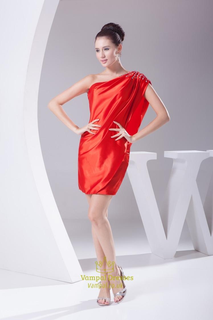 Red One Shoulder Prom Dress 2018, Short One Shoulder Homecoming ...