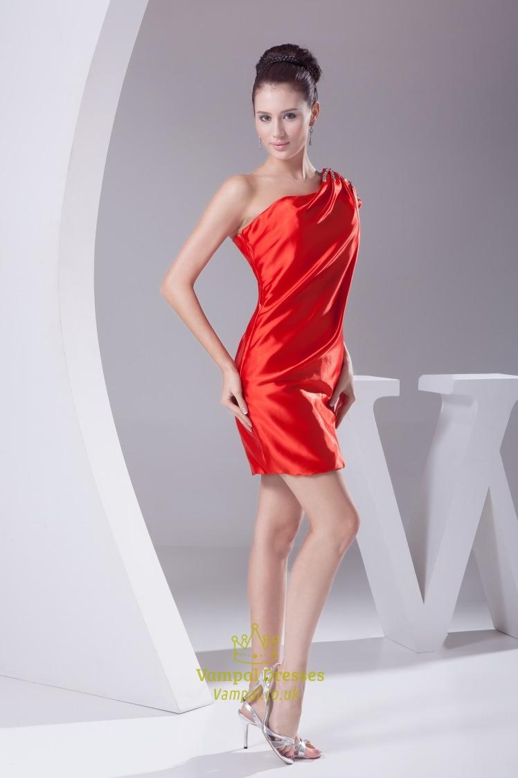 Red One Shoulder Prom Dress 2013  Short One Shoulder Homecoming DressRed One Shoulder Prom Dresses 2013