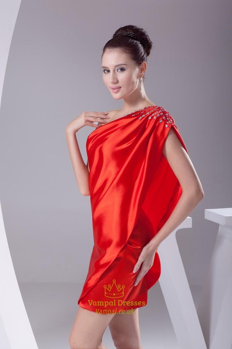 Red One Shoulder Prom Dress 2019, Short One Shoulder ...