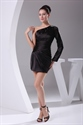 One Shoulder Black Dress With Long Sleeve,Black Pleated Cocktail Dress