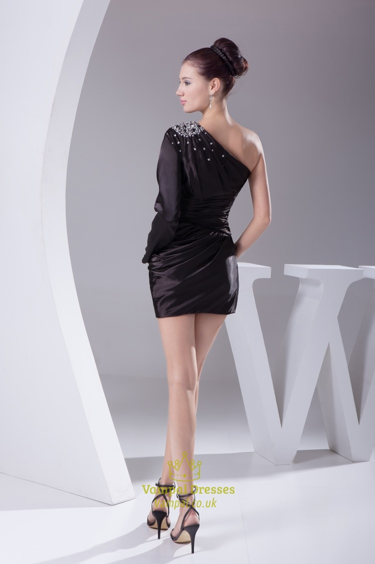 Black Sequins One Shoulder Long Sleeve Prom Dress 51650