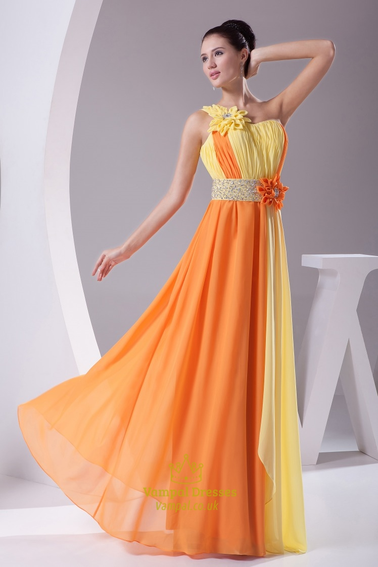 Chiffon One Shoulder Long Gown Floral Embellishment