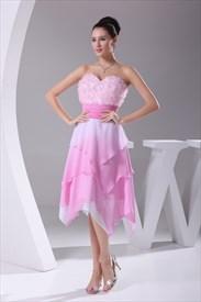 Short Chiffon Homecoming Dresses, Pink Tea Length Bridesmaid Dresses