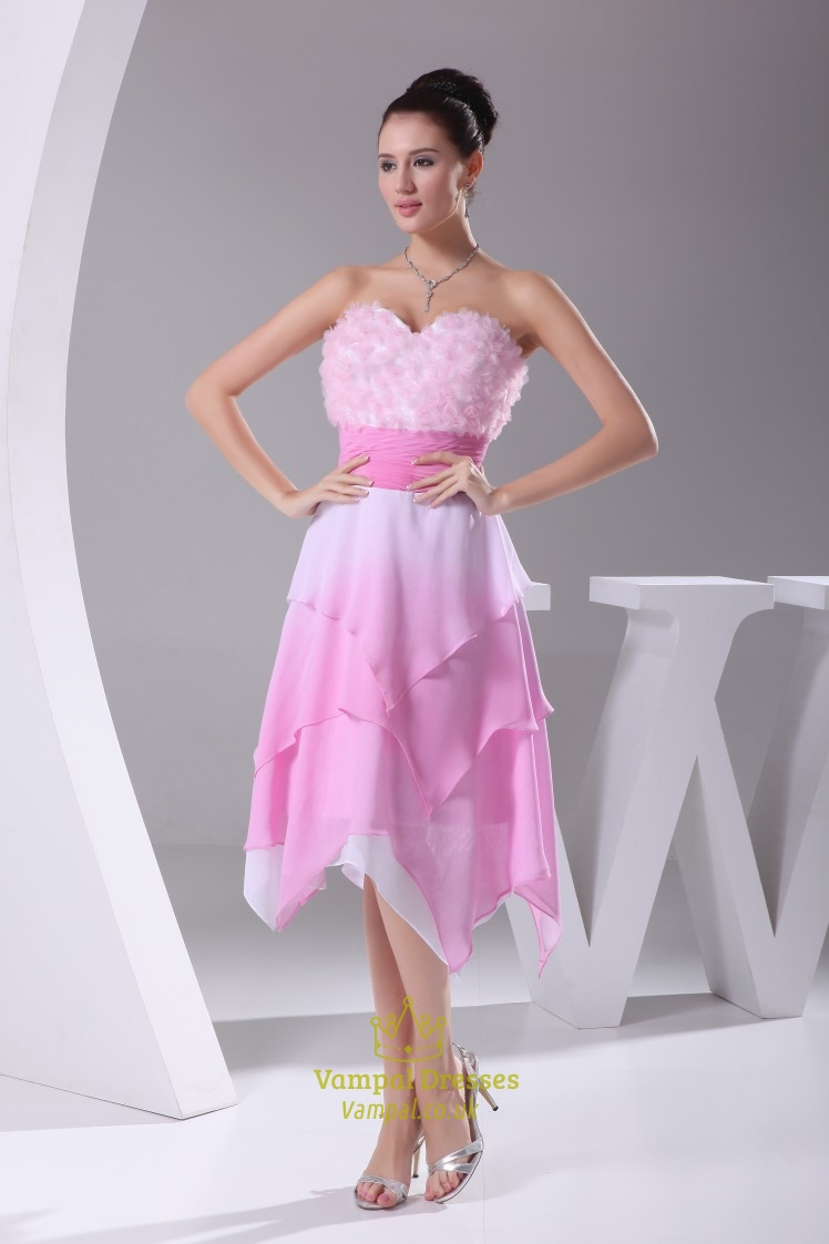 Short Chiffon Homecoming Dresses Pink Tea Length