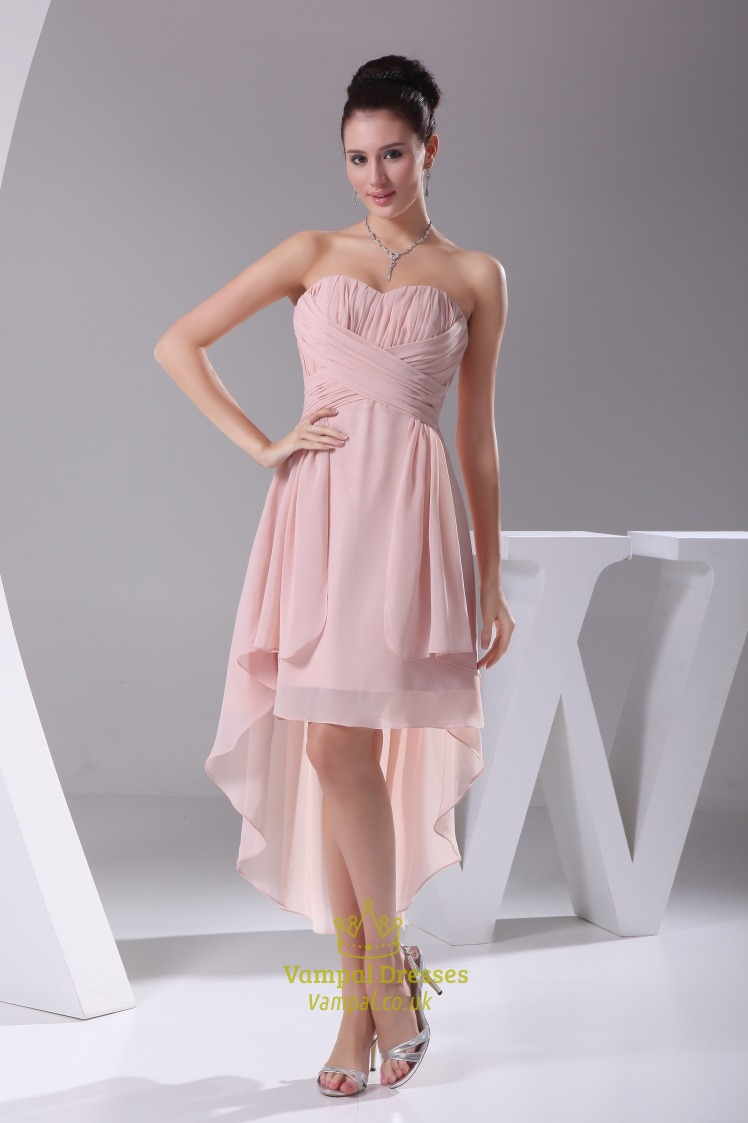 Dusty Pink Chiffon Bridesmaid Dress High Low Homecoming