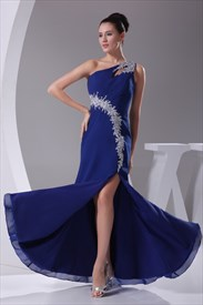 Beaded One Shoulder Long Chiffon Prom Dress, Royal Blue Evening Dress