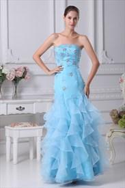 Aqua Blue Mermaid Prom Dress, Strapless Beaded Long Mermaid Prom Dress